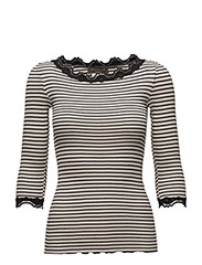Silk t-shirt boat neck regular w/vintage lace - SOFT POWDER BLACK STRIPE