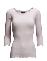 Silk t-shirt boat neck regular w/vi - SOFT ROSE