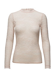 T-shirt regular ls w/lace - SEPIA ROSE