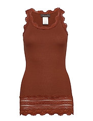 Silk top medium w/wide lace - AMBER BROWN
