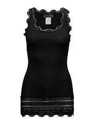 Silk top medium w/wide lace - BLACK