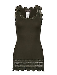 Silk top medium w/wide lace - BLACK GREEN