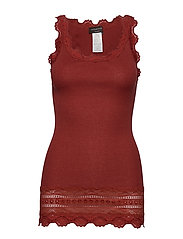 Silk top medium w/wide lace - BURNT RED