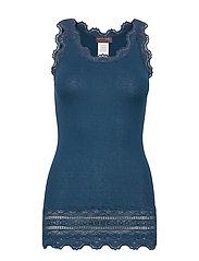 Silk top medium w/wide lace - DEEP OCEAN BLUE