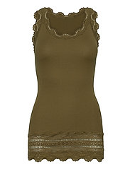 Silk top medium w/wide lace - MILITARY OLIVE