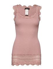 Silk top medium w/wide lace - POWDER ROSE