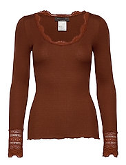 Silk t-shirt regular ls w/wide lace - AMBER BROWN