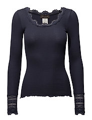 Silk t-shirt regular ls w/wide lace - BLUEBERRY