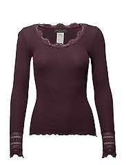Silk t-shirt regular ls w/wide lace - BOURGOGNE