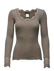 Silk t-shirt regular ls w/wide lace - BROWN MELANGE