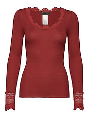 Silk t-shirt regular ls w/wide lace - BURNT RED
