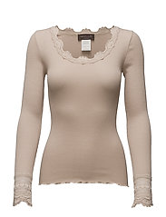 Silk t-shirt regular ls w/wide lace - CACAO