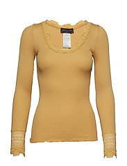 Silk t-shirt regular ls w/wide lace - FALL LEAF