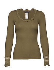 Silk t-shirt regular ls w/wide lace - MARTINI OLIVE