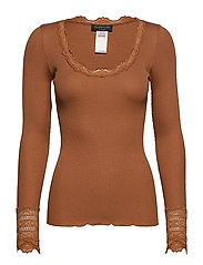Silk t-shirt regular ls w/wide lace - MOCHA