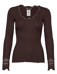 Silk t-shirt regular ls w/wide lace - MOLE