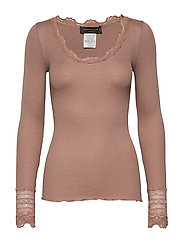 Silk t-shirt regular ls w/wide lace - NOUGAT BROWN