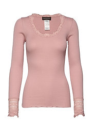 Silk t-shirt regular ls w/wide lace - POWDER ROSE