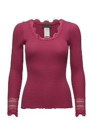 Silk t-shirt regular ls w/wide lace - RASPBERRY RED