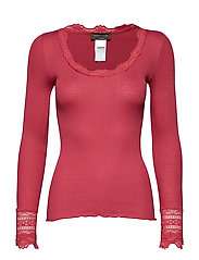 Silk t-shirt regular ls w/wide lace - SCARLET RED