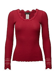 Silk t-shirt regular ls w/wide lace - SCOOTER RED