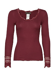 Silk t-shirt regular ls w/wide lace - SOFT WINE
