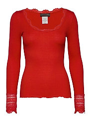 Silk t-shirt regular ls w/wide lace - SPICY RED