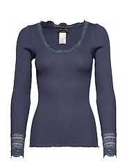 Silk t-shirt regular ls w/wide lace - TRUE NAVY