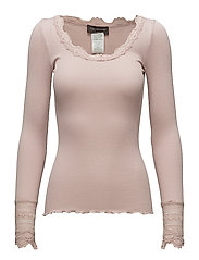 Silk t-shirt regular ls w/wide lace - VINTAGE POWDER
