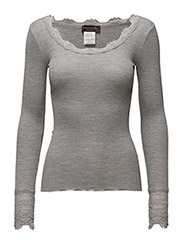 Silk t-shirt regular ls w/wide lace - LIGHT GREY MELANGE