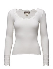 Silk t-shirt regular ls w/wide lace - NEW WHITE