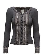 Silk cardigan regular ls w/wide lac - DARK GREY MELANGE
