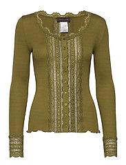 Silk cardigan regular ls w/wide lac - LEAF GREEN