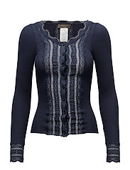 Silk cardigan regular ls w/wide lac - NAVY