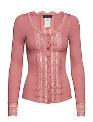 Silk cardigan regular ls w/wide lac - PINK BLUSH