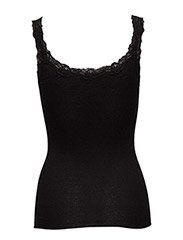 Silk top regular w/rev vintage lace - BLACK