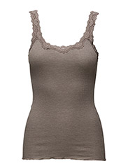 Silk top regular w/rev vintage lace - BROWN MELANGE