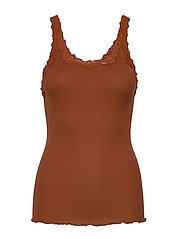 Silk top regular w/rev vintage lace - AMBER BROWN