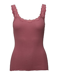 Silk top regular w/rev vintage lace - BAROQUE ROSE