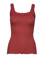 Silk top regular w/rev vintage lace - BURNT RED