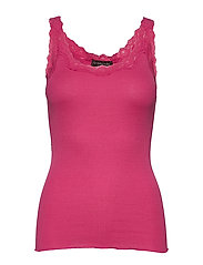 Silk top regular w/rev vintage lace - CARMINE