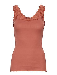 Silk top regular w/rev vintage lace - COPPER BROWN