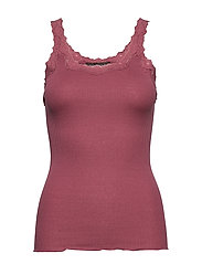 Silk top regular w/rev vintage lace - DEEP ROSE