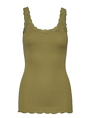 Silk top regular w/rev vintage lace - LEAF GREEN
