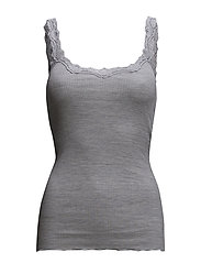 Silk top regular w/rev vintage lace - LIGHT GREY MELANGE