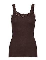 Silk top regular w/rev vintage lace - MOLE