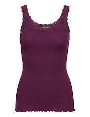 Silk top regular w/rev vintage lace - POTENT PURPLE
