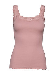 Silk top regular w/rev vintage lace - POWDER ROSE