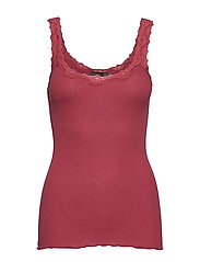 Silk top regular w/rev vintage lace - SCARLET RED