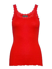 Silk top regular w/rev vintage lace - SPICY RED